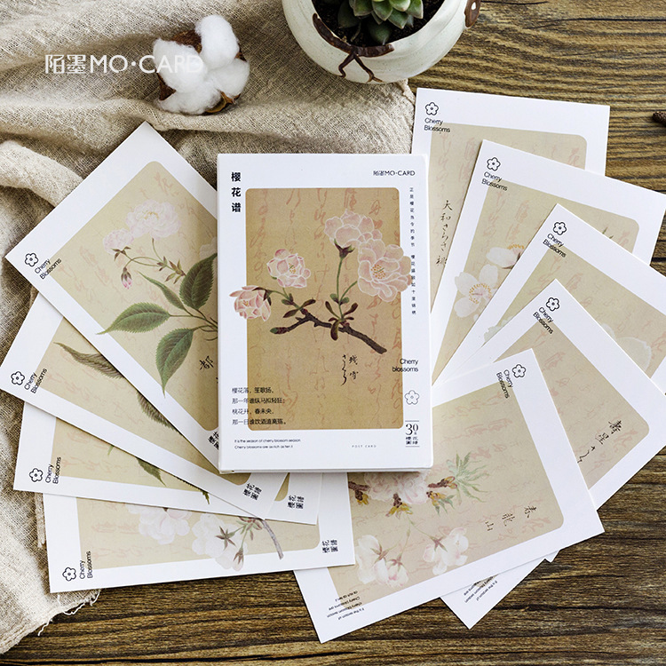 30 Sheets/Set Cherry Blossom Sakura Series Postcard/Greeting Card/Message Card/Birthday Letter Envelope Gift Card