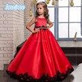 Bastante A Linha Flor Meninas Vestidos de Cetim Vermelho com Preto apliques 2017 Beading Corpete Personalizado Crianças Vestidos para Casamento Pageant desgaste
