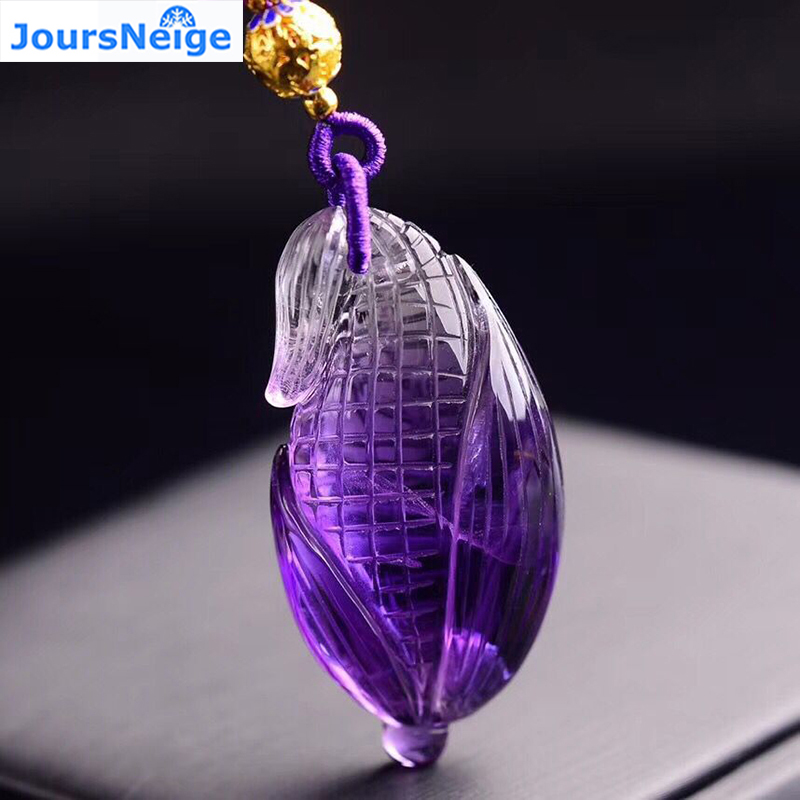 Fine Purple Natural Crystal Pendant Carved Corn Pendants Sweater Chain Necklace Luck for Women Wish JoursNeige Jewelry цена