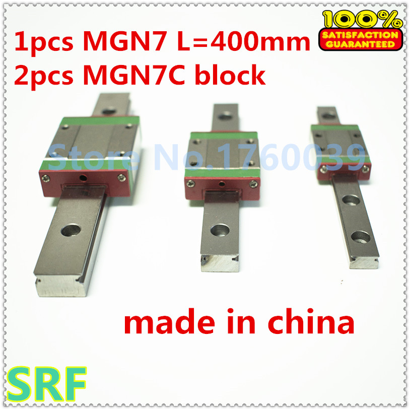 1pcs 7mm width Mini linear guide rail MGN7 L=400mm +2pcs MGN7C Block Carriage Miniature linear guide way for CNC parts r044259401 cnc parts linear guide rails rexroth runner block miniature ball carriage linear bearing