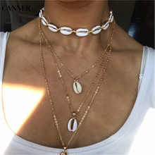 Canner 2019 Choker Necklace Women Nature Shell Boho Gold Chain For Handmade Jewelry