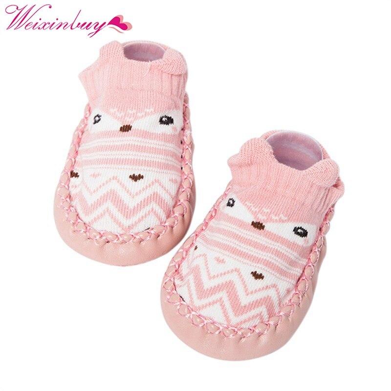 Newly Baby ShoesToddler Floor Sock Cartoon Baby Boys Girl Shoes Socks With Rubber Sole Prewalker
