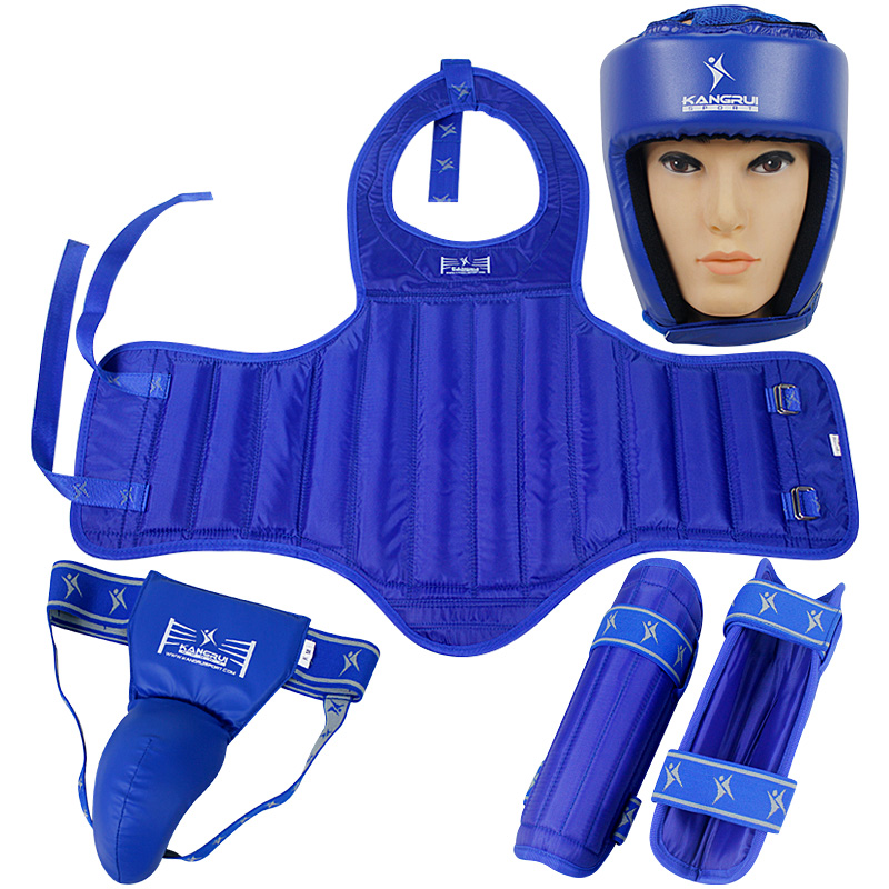Free combat Sanda protective TKD MMA guards 4pcs chest protector headgear shin guards supporter jockstrap Muay Thai boxing suits jduanl 1pc left right thick leg support boxing pads muay thai mma legs guards protector trainer combat sanda karate training deo
