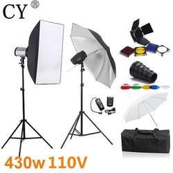 CY Photography Studio Soft Box Flash Lighting Kits 430ws 110V Godox Flash+Softbox+Stand+Umbrella Photo Studio Accessories Godox