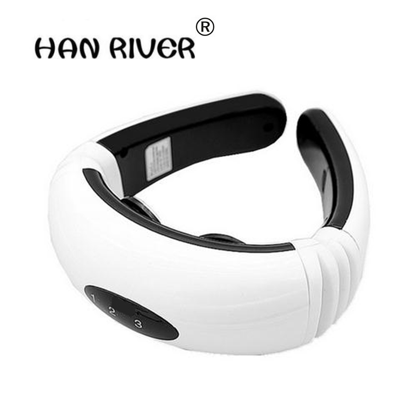 HANRIVER High quality Electric pulse Back and Neck massager Cervical Vertebra Treatment Instrument Acupuncture magnetic therapy 2017 hot sale mini electric massager digital pulse therapy muscle full body massager silver