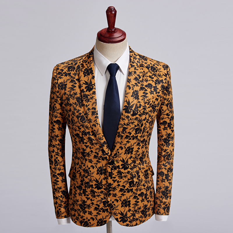 The New 2020 Brown Printed Dress Men Leisure Suit Host Take A Suit