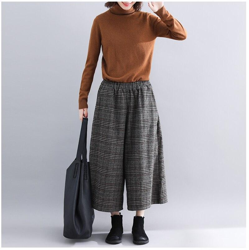 Plus Size Women Wide Leg Pants Autumn Harem Pants Plaid Casual Vintage Korean 2018 Oversize New Elastic Waist Woolen Pants 7