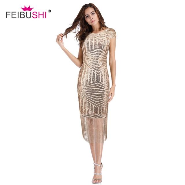 FEIBUSHI Summer Vestido Flapper 20s Evening Party Vintage Women Gatsby Gold Sequin  Dress Sexy Pencil Bodycon Dresses Big Size 59592e371fde