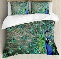 Peacock Duvet Cover Set Peacock Displaying Elongated Majestic Feathers Open Wings Picture 4 Piece Bedding Set Navy Blue Green