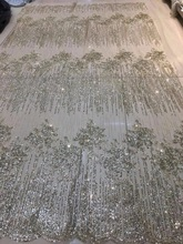 SU-J08102 African glitter lace fabric for party dress 5yard/lot embroidered tulle with glued Gold/Silver/Black