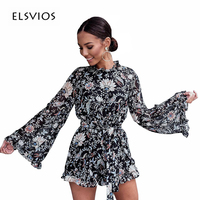 ELSVIOS Sexy Lace Up Backless Sashes Autumn Playsuits Jumpsuits Women Long Flare Sleeve Rompers Floral Printed