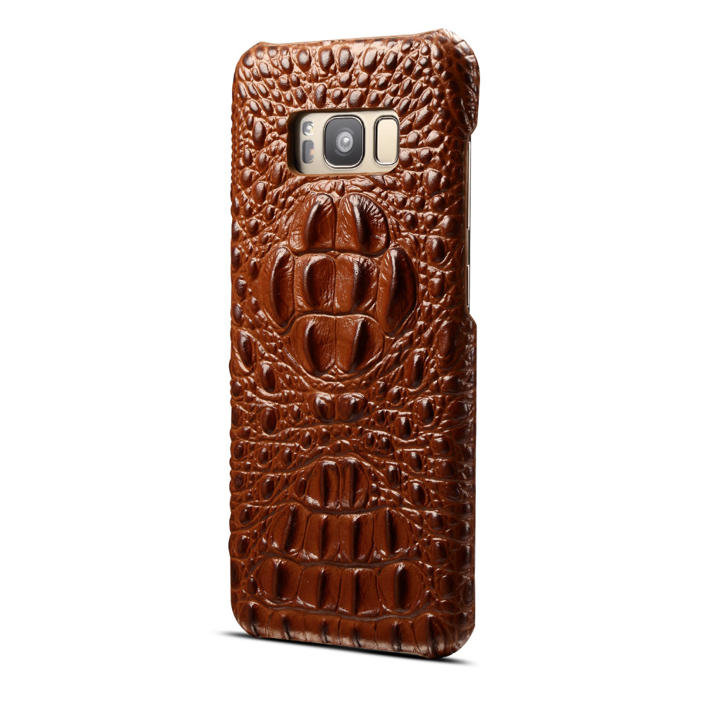 Real Genuine Leather Case for Samsung Galaxy Note 8 s8 S8 Plus S9 S9 Plus Luxury 3D Croc ...