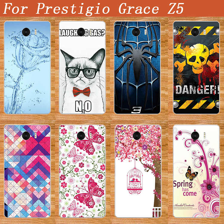 "High Quality Diy UV Painting Colored Flowers Spider Glass Rabit Case Cover For Prestigio Grace Z5 PSP5530 DUO 5.3"" Cases Sheer"