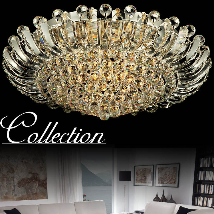 Luxury K9 Crystal Ceiling Lamp Lighting Fixtures Round Lampara LED Techo Restaurant Light Home Decorative Lamps Lustre best price rectangular crystal chandeliers k9 crystal ceiling lamp lighting fixtures restaurant led lighting e14 free shipping