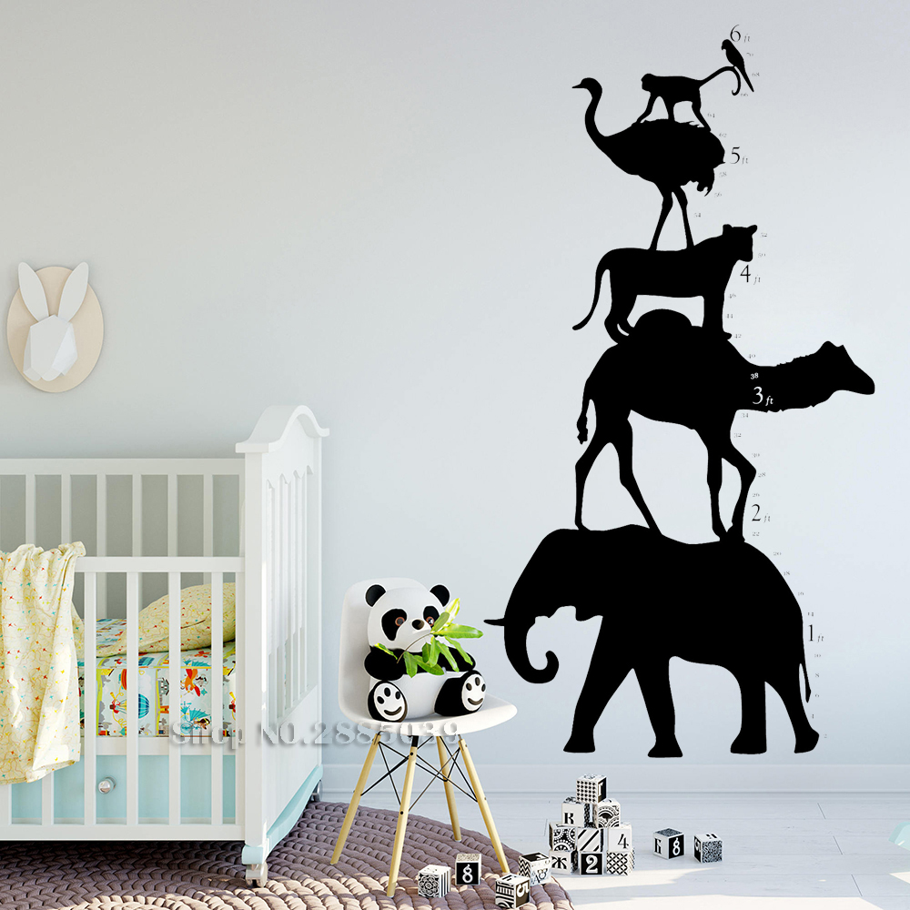 Animal Shilouette Tower Growth Chart Wall Decal Vinyl Art Wall Sticker For Kids Gaming Room Home Decor Bedroom Murals Cute LC574