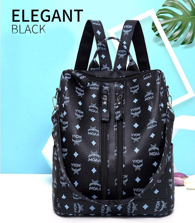 Women Fashion PU Backpack Girls Soft Leather Printed Shoulder Bag Ladies large fashion female Bagpacks for School Teenager Brown (6)