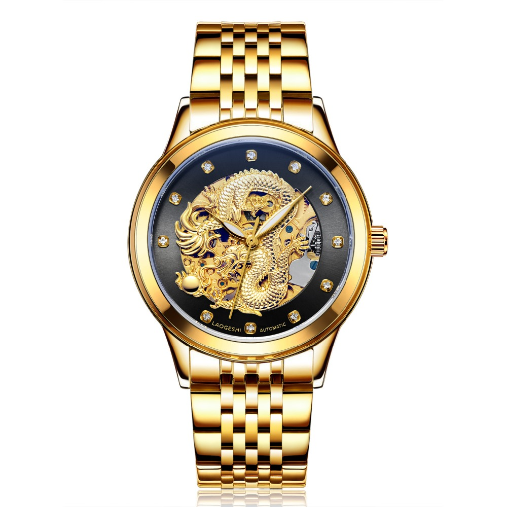 Luxury Dragon & phoenix lovers men watch women hollow luminous engraving automatic mechanical watches gold clock gift Relogio unique smooth case pocket watch mechanical automatic watches with pendant chain necklace men women gift relogio de bolso