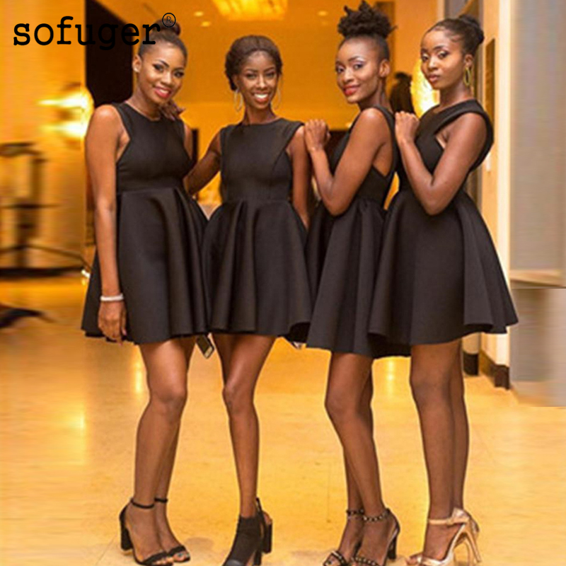 Short Black Satin Scoop Above Knee Special Occasion   Dress     Bridesmaid     Dresses   Wedding Party   Dresses   Formal