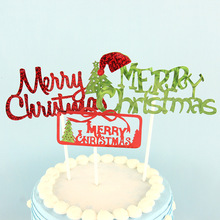 Merry Christmas Cake Topper Tree Santa Claus Toppers Glitter Kids Happy Birthday Weeding Flag New Year Party DIY Decor