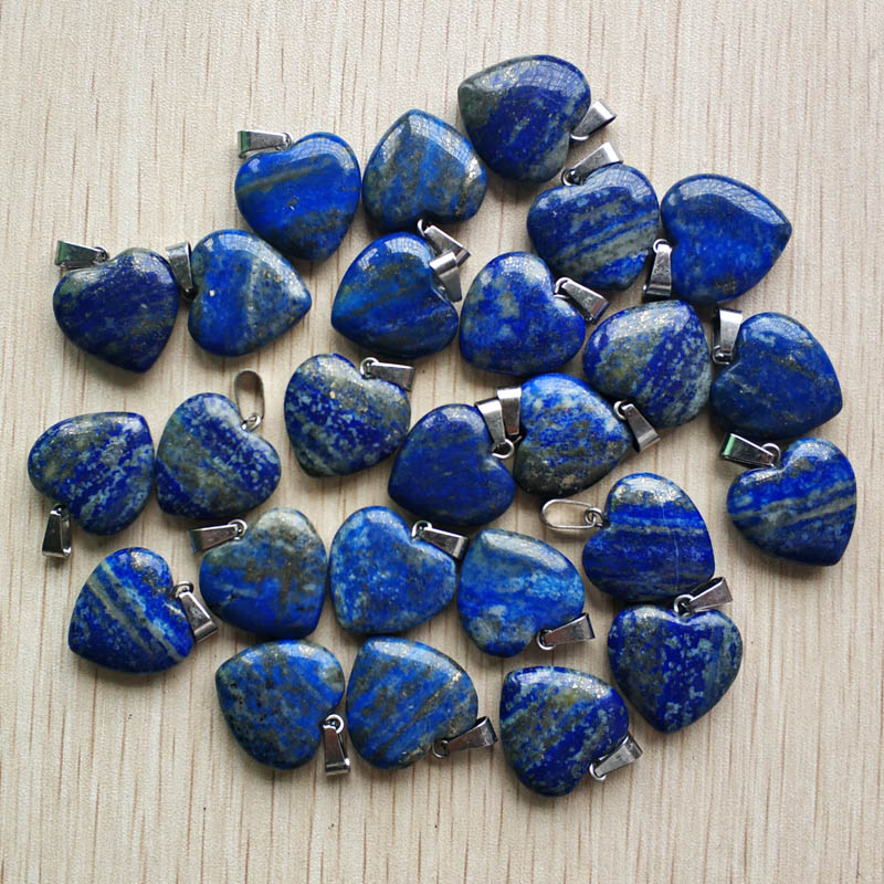 Image 2 - 2018 fashion high Quality natural Lapis Lazuli love heart  charms pendants for DIY jewelry making 20mm 24pcs/lot Wholesale-in Pendants from Jewelry & Accessories