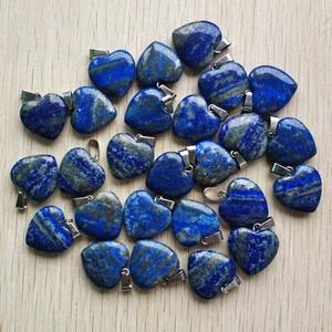 Image 2 - 2018 fashion hoge Kwaliteit natuurlijke Lapis Lazuli liefde hart charmes hangers voor DIY sieraden maken 20mm 24 stks/partij Groothandel