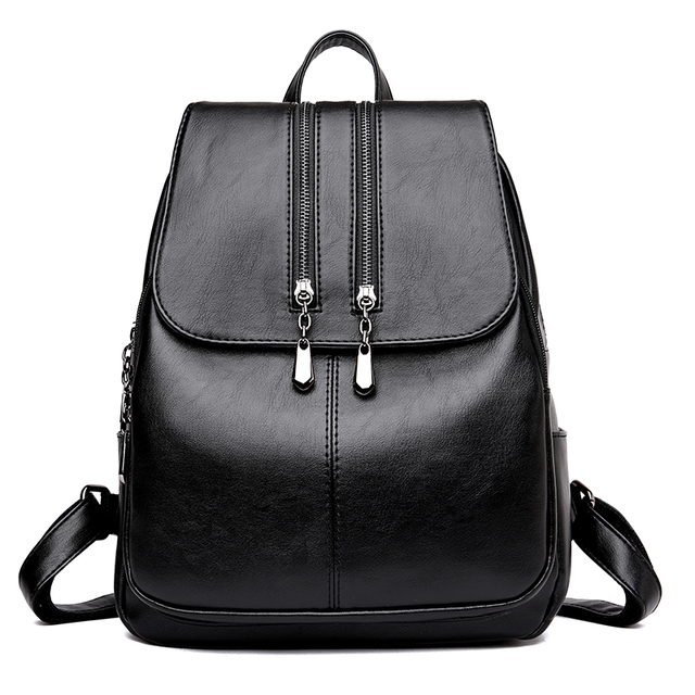 Fashion Double Zippers Women's Genuine Leather Backpack