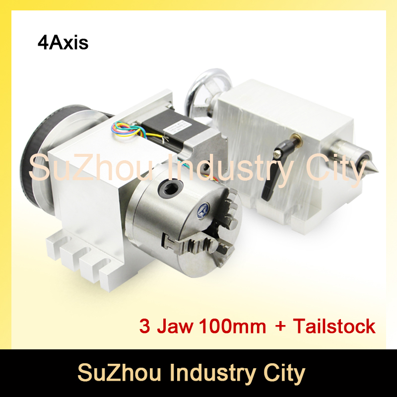 3 Jaw 100mm CNC 4th Axis+Tailstock CNC dividing head/Rotation Axis/A axis kit for Mini CNC router/engraver woodworking engraving best quality nema 34 stepper motor 4 1 k12 100mm 4 jaw chuck 100mm cnc 4th axis a aixs rotary axis tailstock for cnc router
