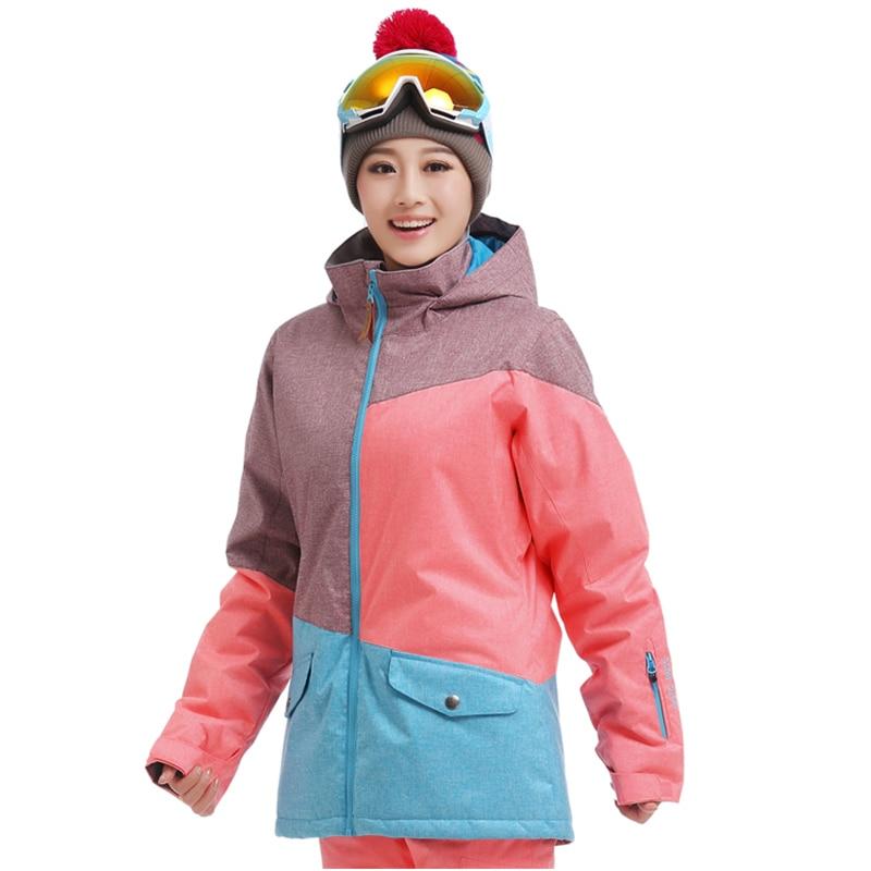 Gsou 스노우 스키 재킷 여성 스노우 보드 여성 스키 재킷 방수 방풍 스키 정장 열 여성 스키 통기성