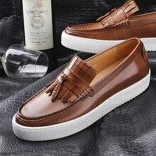 Britischen Stil Slipon Schuhe Anhänger Einzigen Schuhe High-end-Mark Gewinde Herren Schuhe Lässig Full Grain Leder Bootsschuhe reine Farbe