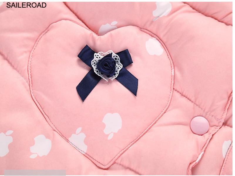 SAILEROAD 2-7T Autumn Winter Sweet Children's Girls Jackets Cotton Warm Kids Vest For Girl Waistcoat Children Outerwear Clothing 3