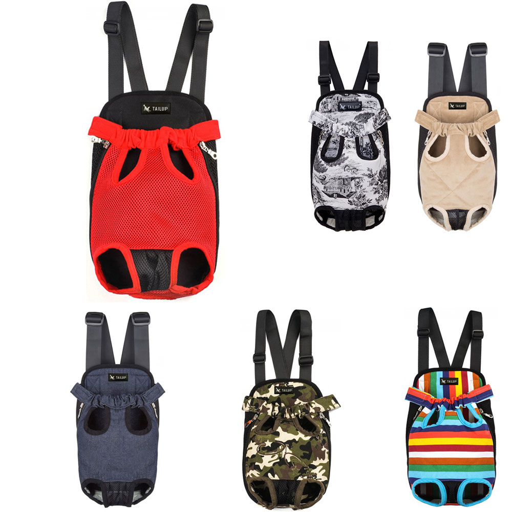 TAILUP Pet Dog Carrier Backpack Mesh Camouflage Outdoor Travel Products Denim Front Bag Double Shoulder Carrying Cat