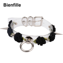 Handmade Kawaii Choker Punk Gothic Rose Collar Necklace Six Color Flowers Tranparent Faux Leather Spiked Collar Choker For Women