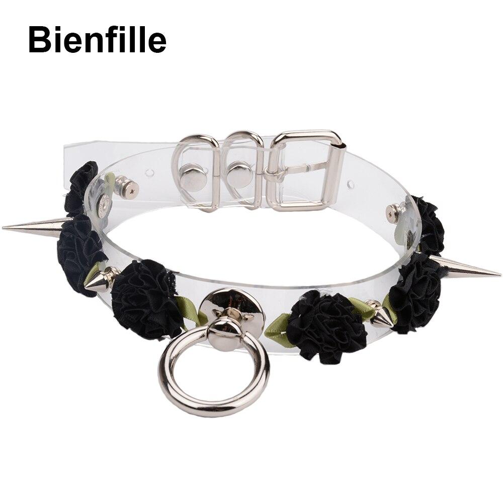 39b2ceaacbbe Kawaii hecha a mano gargantilla Punk gótico Collar seis flores de Color  transparente de con punta