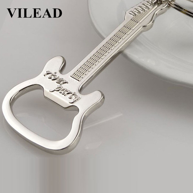 VILEAD Guitar Beer Bottle Opener Keychain Creative Kitchen Accessories Key Ring Openers Key Handle gift Kitchen Tool