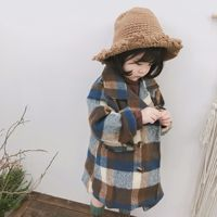 Fashion Plaid Vintage Kids Girl Wool Coat Double Breasted Children Winter Clothes Long Sleeved Toddler Girls Outwear Jacket G416