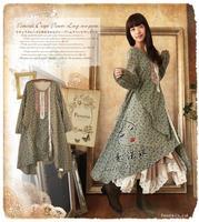 autumn loose patchwork irregular long sleeve dress lolita mori girl vestiti donna hippie boho vintage vestidos tunique femme