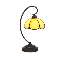 Vintage Tiffany Table Lamp Umbrella Shape Yellow Stained Glass Lampshade Desk Light European Bedside Reading Nightlight TL146