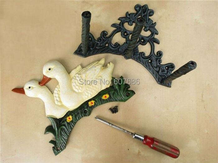 Cast Iron Water Hose Holder Metal 2 Duck Wall Mounted Hose Hanger ...