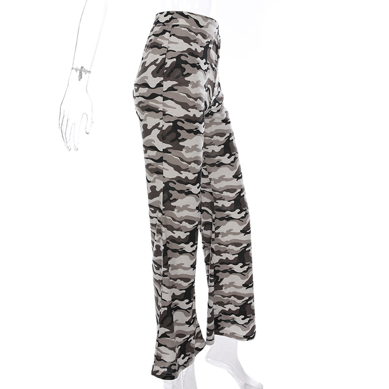 Sweetown Camouflage Flare Long Pants Women Sexy Elegant Street Style Pantalon Femme Elastic High Waist Camo Pants Streetwear