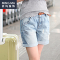 Summer Style Women'S Jeans Torn Denim Shorts To The Knee Boyfriends Ladies Length Shorts Ripped Jeans For Women Pants Trousers L