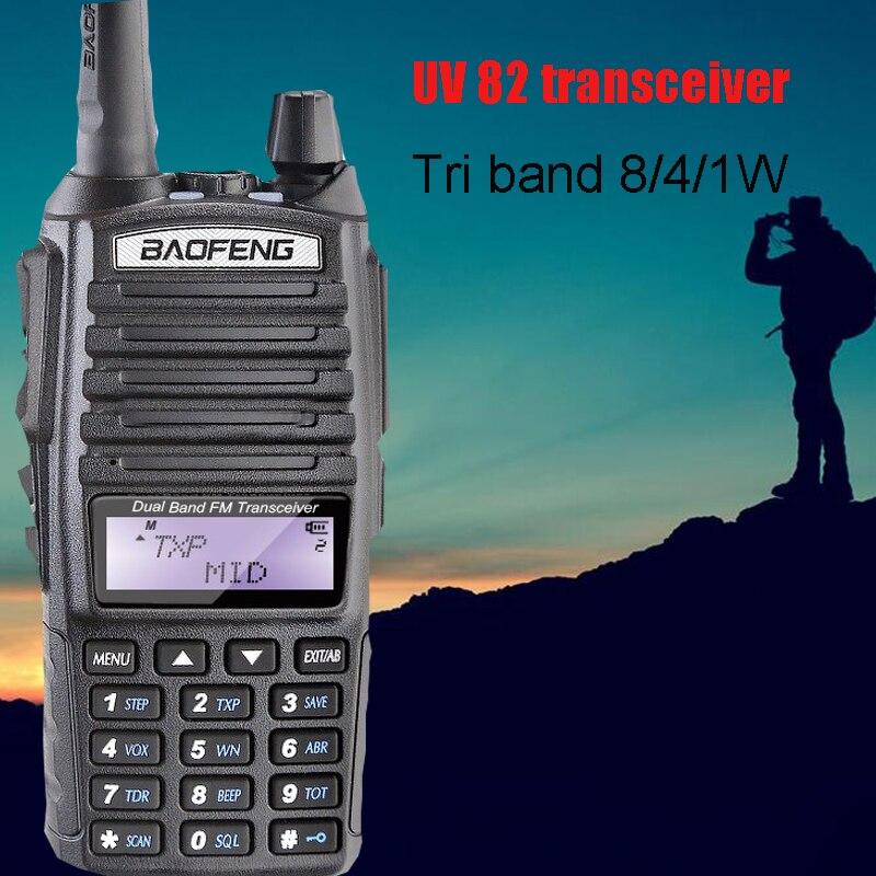 Baofeng UV 82 de puissance Tri grande puissance 8 W talkie walkie 10 km CB Ham Radio pour la chasse Vhf Uhf Double Bande Baofeng UV-82 radio