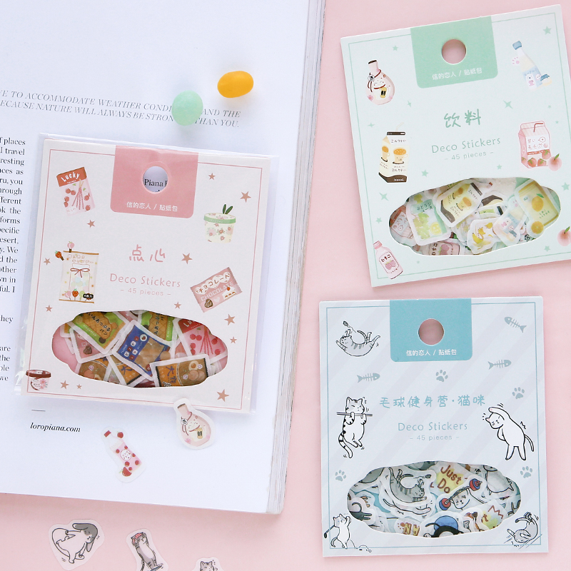 Cute Animal cat Eating and Drinking Series Bullet Journal Decorative Stickers Scrapbooking Stick Label Diary Stationery Album(China)