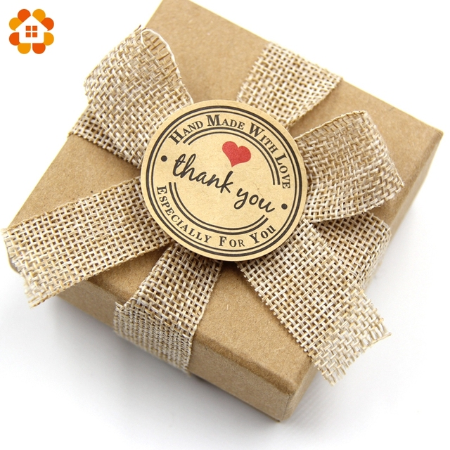 120PCS Kraft Paper Thank You Gift Tags Stickers Wedding Party Favors ...