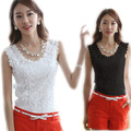 2015 New Summer Style Fashion Full Lace Stitching Pattern Sleeveless Vest Bottoming  Small Hollow Halter Top D095