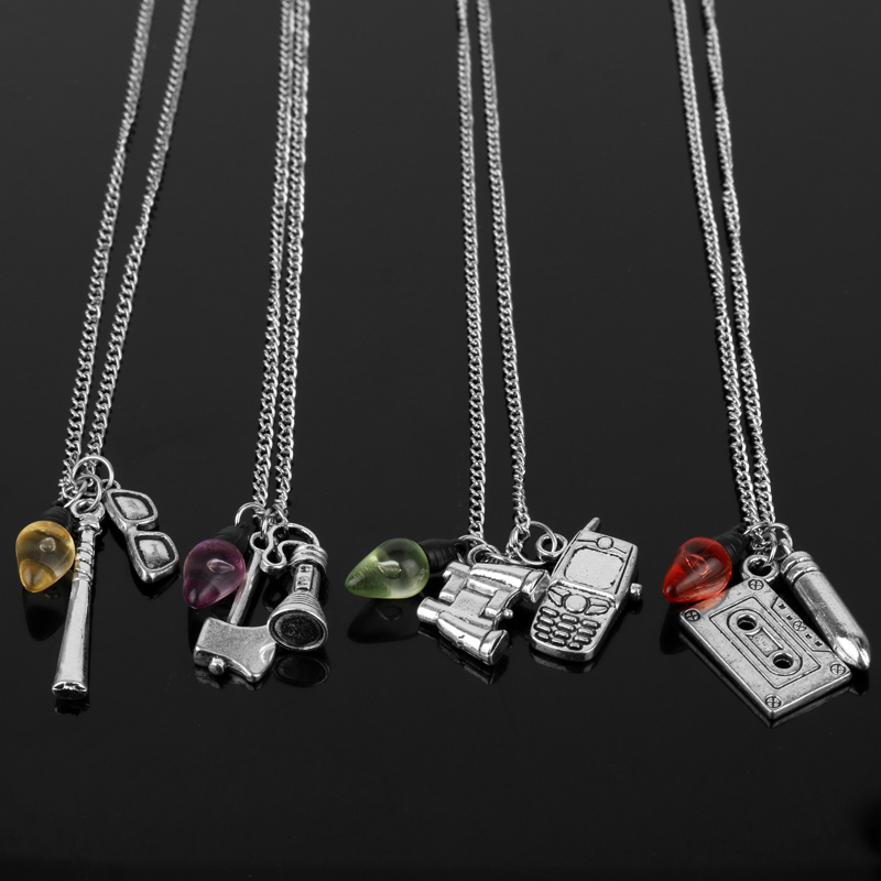 Wholesale Fashion Jewelry Stranger Thing Necklace Punk Tape Light Bulb Phone Glasses Pendant Necklace Chain Sweat Necklace-30