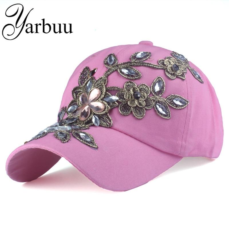 Prix pour [YARBUU] marque casquettes de baseball avec Fleur 2017 chapeau d'été pour les femmes Femelle chapeau de haute qualité Strass Denim chapeaux jean cap