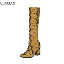 CDAXILAN new arrivals womens boots snake-print microfiber leather square heels Elastic knee-high boot ridding Equestrain