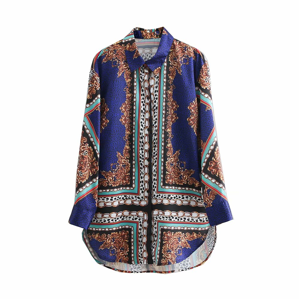 women vintage position chain print casual smock   blouse     shirt   women long sleeve blusas animal pattern retro femininas tops