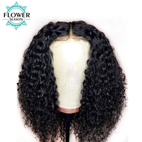 FlowerSeason 13x6 Preplucked Lace Front Wig Human Hair Curly With Baby Hair Peruvian Remy Hair Wigs Bleached Knots 130% Density