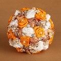 2016 Новый Искусственный Шелк Цветок Розы Элегантный Оранжевый Свадебный Букет Свадебные букеты Брошь букет buque де noiva FW163